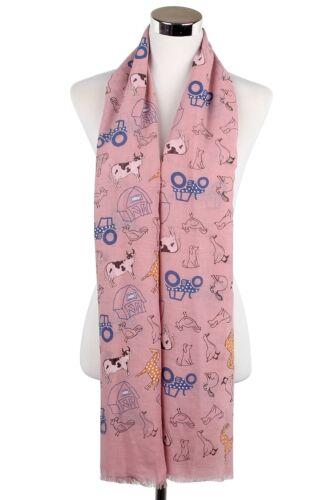 ANIMALI da Fattoria Mucca Cavalli Cani Stampa sciarpa sciarpe wrap estate moda idea regalo