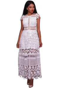 New-Style-Women-s-White-Maxi-Lace-Hollow-Out-Long-Party-Dress-Size-4-14