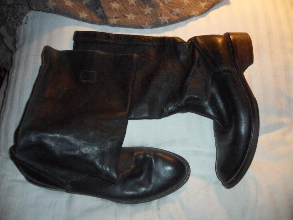 Echt Leder Stiefel 40 Stiefel hochwertig Luxus Vintage Dunkel Grün Flaschengrün &