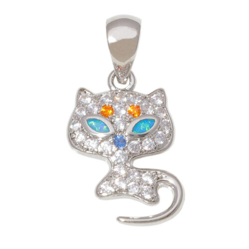 Blue Fire Opal Multi Color Topaz Silver for Women Jewelry Gems Pendentif OD6988