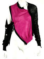 JUNYA WATANABE Black & Fuchsia Off-The-Shoulder Cardigan Sweater M
