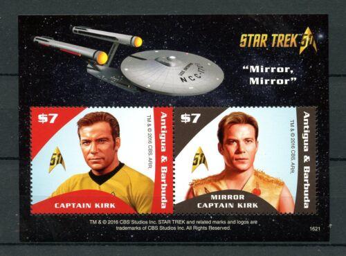 Antigua & Barbuda 2016 MNH Star Trek Original 50th Anniv 2v S/S II Kirk Stamps
