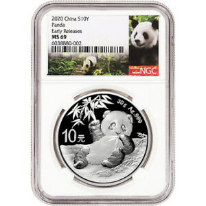 2020 China Silver Panda 30 g 10 Yuan NGC MS69 Early Releases Bilingual Label