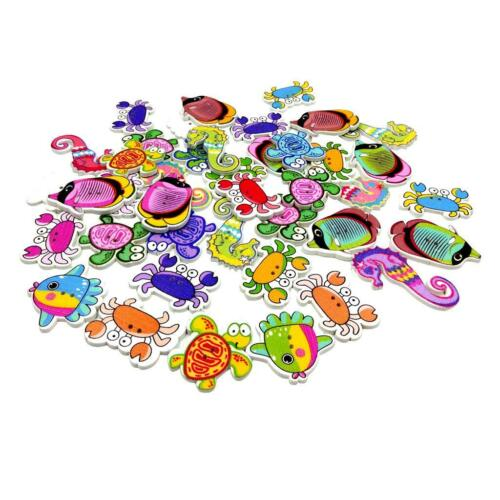 100x Fish Crab Animals Wooden Buttons for DIY Sewing on Clothing Decoration