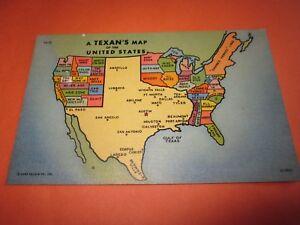 Vintage-Unused-Postcard-034-A-Texan-039-s-Map-034-Very-Good