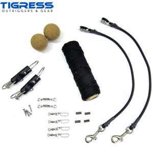Tigress Outrigger Kit de reglaje de calidad súperior Elite Negro Nailon Trenza