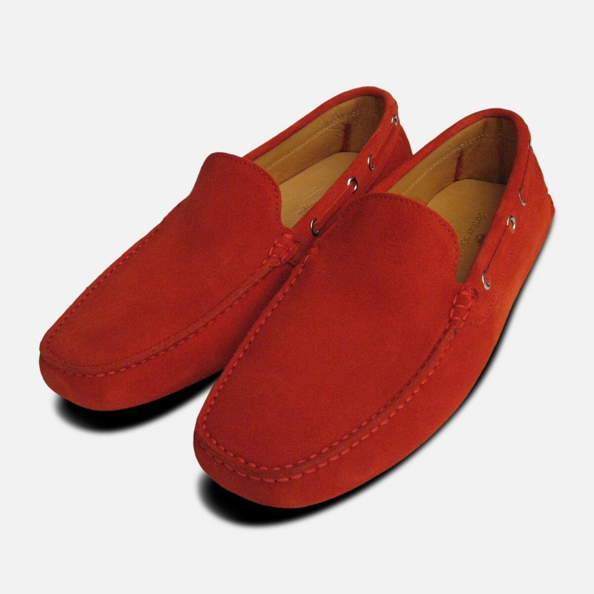 rot Suede Driving schuhe Moccasins for Men