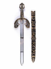 ADULT MEDIEVAL & GOTHIC BATTLE SWORD & SHEATH FANCY DRESS WEAPON PROP