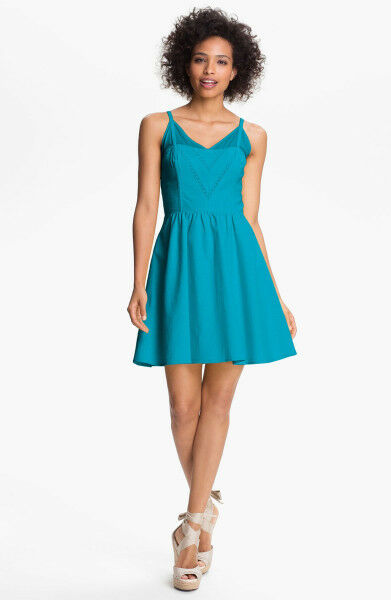 JESSICA SIMPSON Blau Vneck Fit Flare Dress Sz 2 New