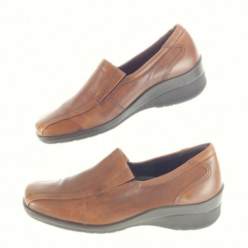 Ecco Womens 5 5.5 Loafers Brown Leather Slip On We