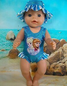 Dolls-clothes-for-17-034-Baby-Born-Doll-FROZEN-SISTERS-TURQUOISE-SWIMMING-COSTUME