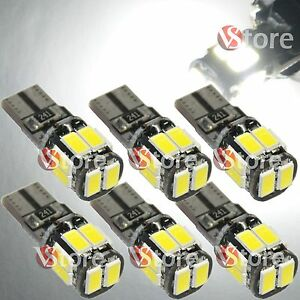 6-Lampade-Led-10-SMD-5630-T10-Canbus-No-Errore-Luci-BIANCO-Xenon-Posizione-Targa