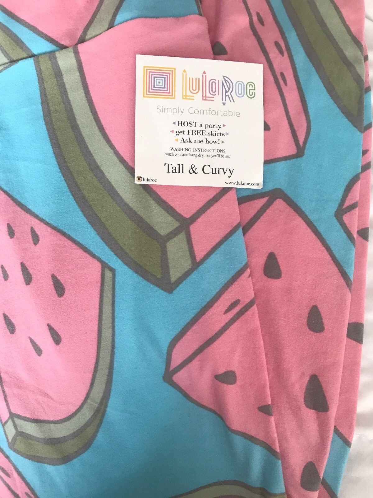 Lularoe TC Tall Curvy Leggings Solid bluee Large Watermelon  HTF Unicorn New