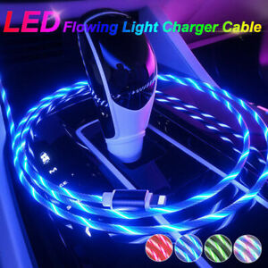 LED Flowing Light Up Charge Cable for iPhone / Samsung / Android / Mobile Phone