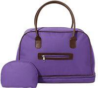 2-piece Cosmetics & Toiletries Tote Bag 16w Set Deep Purple W/faux Leather