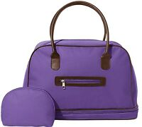 2-piece Cosmetics & Toiletries Tote Bag 16w Set Deep Purple W/faux Leather