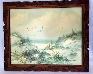 Oil-Painting-Signed-Seascape-Beach-Ocean-Seagulls-Carved-Wood-Frame-Small-Flaw