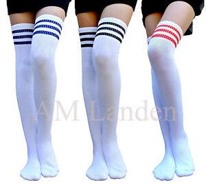 AM-Landen-Ladies-Super-Cute-Triple-Stripe-Over-Knee-High-Socks