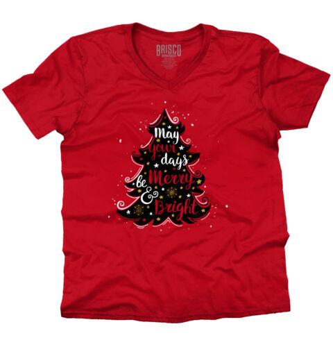 Bright Merry Christmas ShirtSanta Claus Holiday Tree Cards V-Neck T Shirt