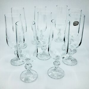 Set-of-8-Bohemia-Crystal-Champagne-Flutes-Glasses-with-Ball-Stems