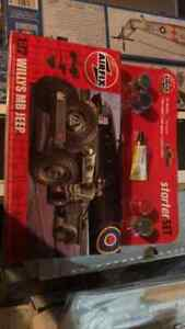 Airfix Willys MB Jeep W/ Glue, Paints, & Brush Starter Set 1:72 Model Kit A55117