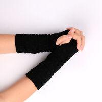 Unisex Men Women Knitted Fingerless Winter Gloves Soft Warm Mitten Solid-Black