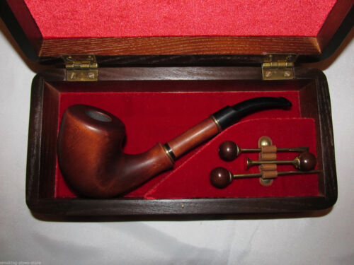 brass velvet BIG SET Smoking Tobacco homeliness pipe wooden Box cleaning Tools