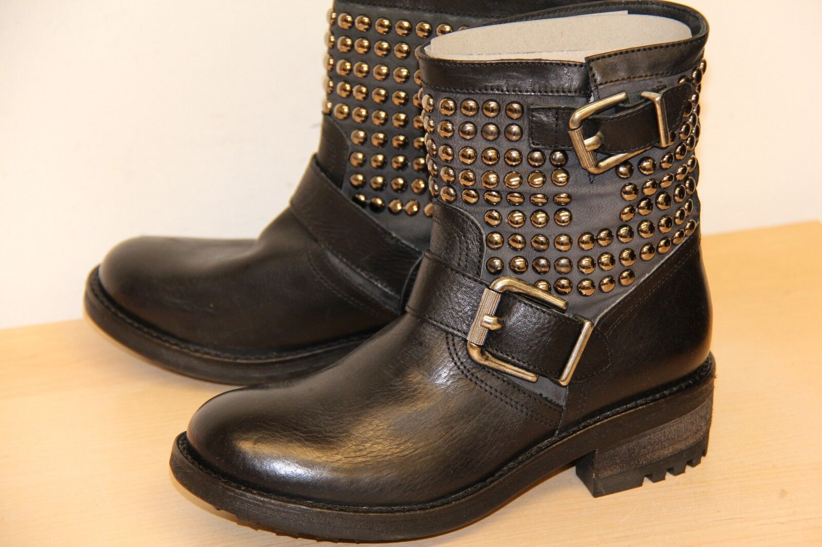 NIB Mally DUSTY Studded Vaccheta Leather Ankle Motorcycle Boots Sz 36 6 M Black