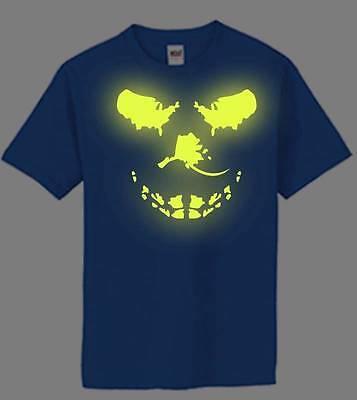 Mens PRINTED Big Skull Glows in the Dark FUNNY MMA Hip Hop Short Sleeve T-Shirt