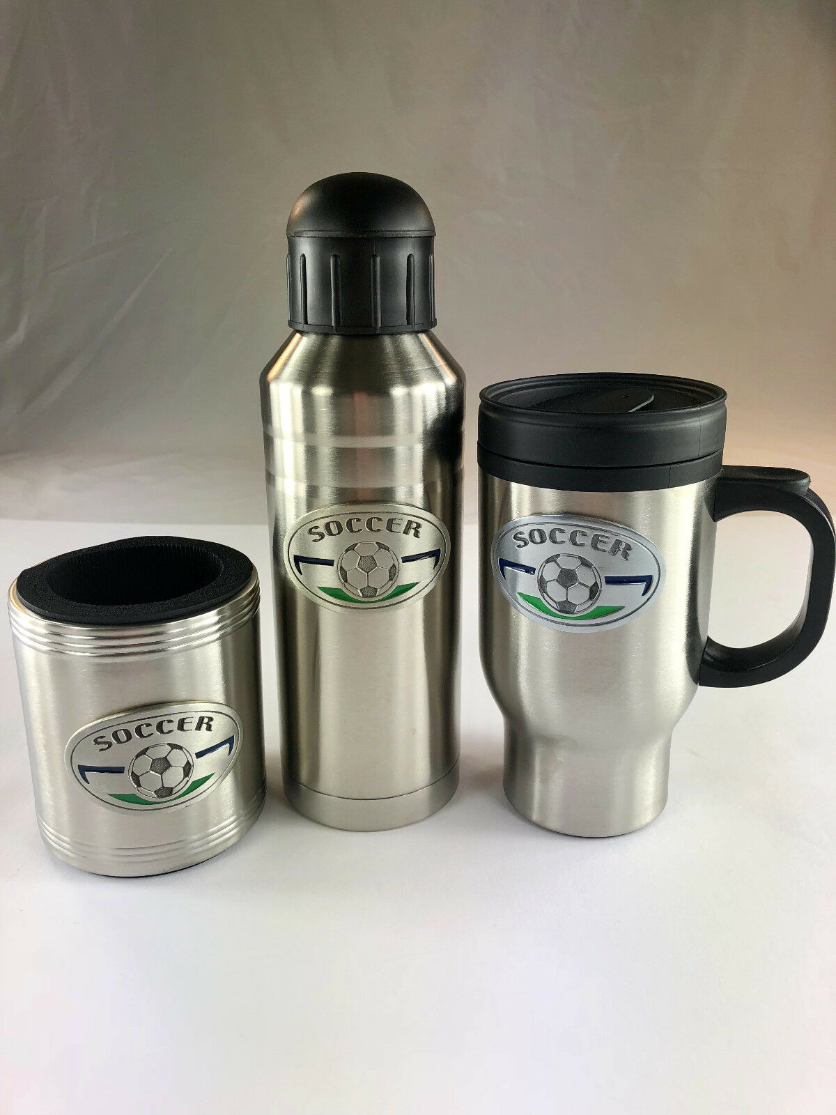 Soccer Stainless Steel Coffee Mug, Sport Bottle & Koozie (SET) Soccer Emblem