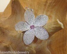 35mm Hawaiian Sterling Silver Sparkly DC Sand Plumeria Flower Pink CZ Pendant