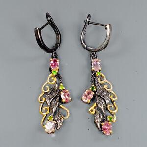 Handmade-Design-Natural-Tourmaline-925-Sterling-Silver-Earrings-E30854