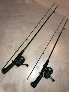 2 Vintage Johnson Century 225 Fishing Rod & Reel Combos Collectible