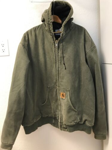 CARHARTT Hooded Chore Jacket Workwear Canvas Duck