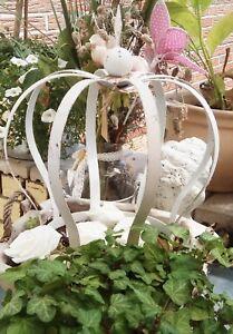 Dekoration Krone Metall Weiß Deko Garten Shabby Vintage Nostalgie