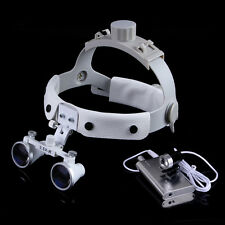 3.5 X Headband Surgical Binocular Loupes + Dental LED Headlight Lamp Silver IT