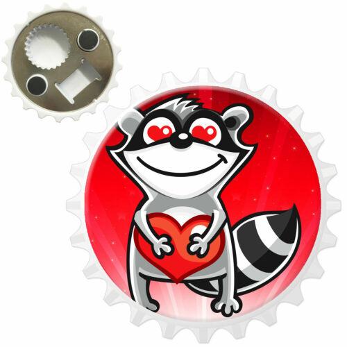 Star Struck Love Animals Racoon Heart Bottle Opener Fridge Magnet
