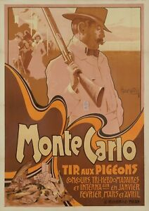 Affiche-Hohenstein-Tir-aux-Pigeons-Monte-Carlo-Monaco-Chasse-Fusil-1900