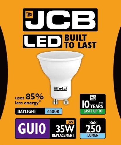 s10964 5 x JCB 3 W = 35 W DEL GU10 100 Deg 6500k Daylight Spotlights 250 LM