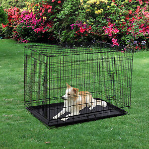 "Pawhut 42"" Folding Metal Dog Crate Kennel Pet House Cage W/ Tray"