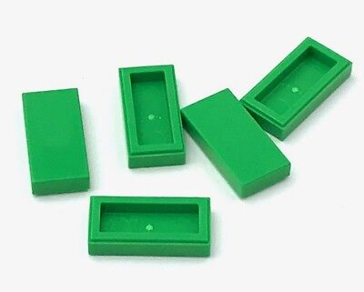 Lego 5 New Sand Green Tiles Flat Smooth 1 x 2 with Groove Pieces