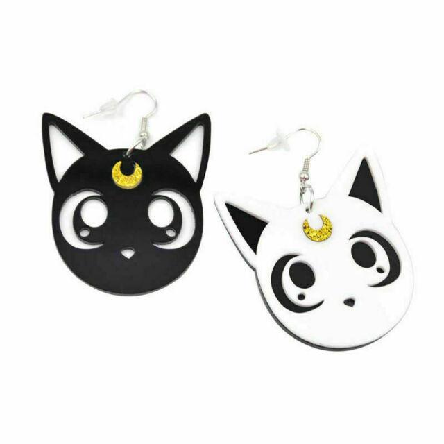 1 Pair Black//White Kawaii Ainme Sailor Moon Luna Cat Earrings Cute Girl Eardrop