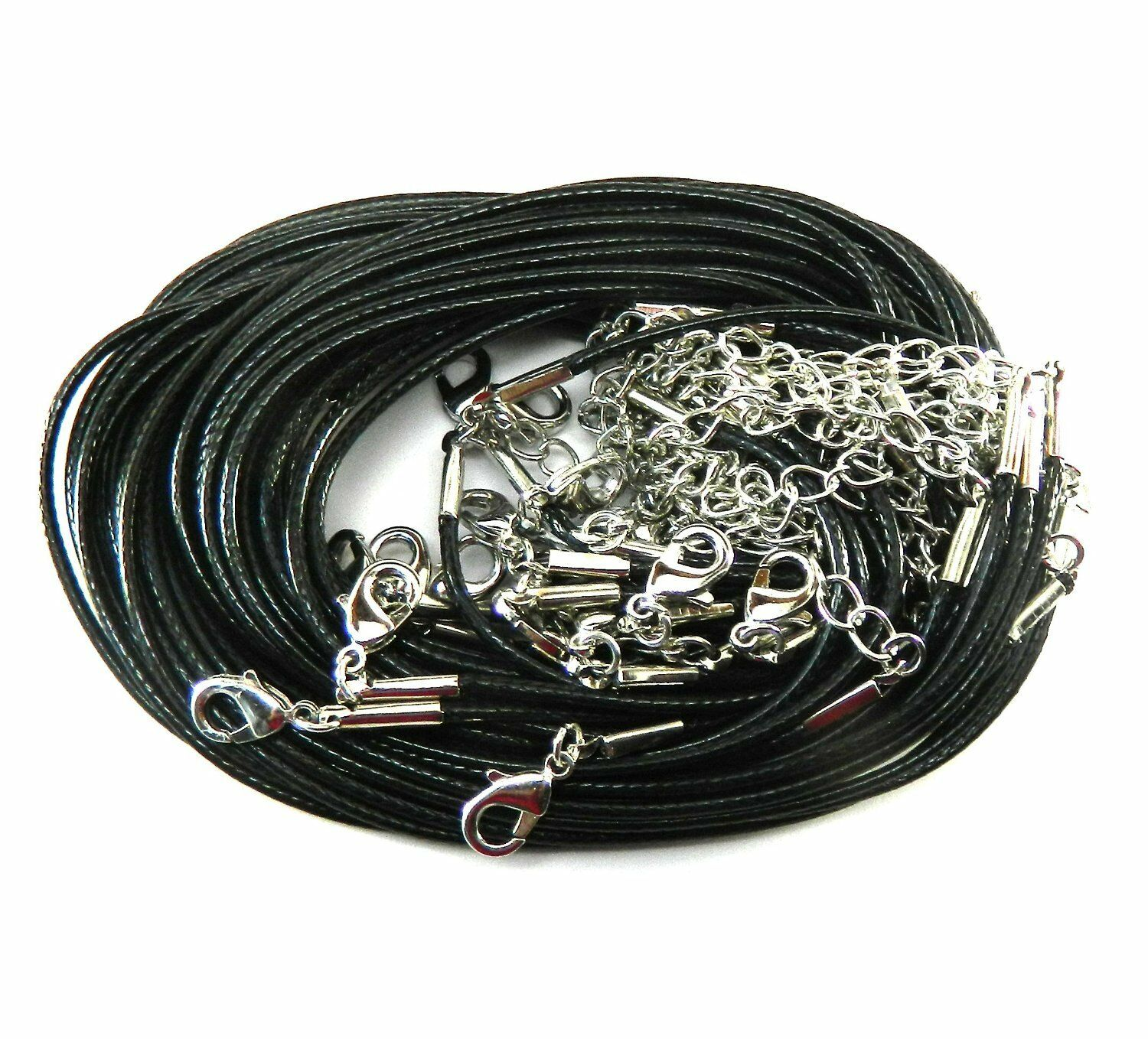"""Rockin Beads 20 Leather Cord Necklaces Black 17/"""" Lobster Claw Clasp Extension"""