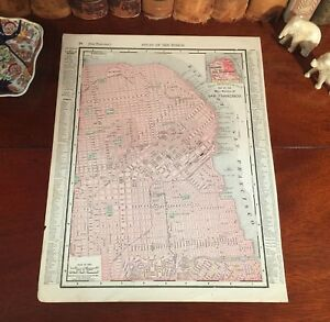 Large-Original-1899-Antique-Map-SAN-FRANCISCO-California-CA-Historic-Landmarks