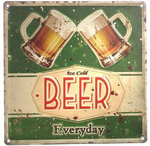 DIO Retro Blechschild Ice cold Beer, Metall, 30x30cm - vintage nostalgie schild