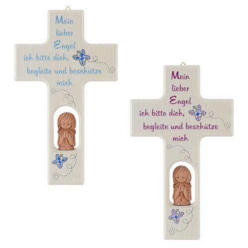 Kinderkreuz Kreuz Mein lieber Engel zur Taufe Geburt rosa blau mit Schutzengel