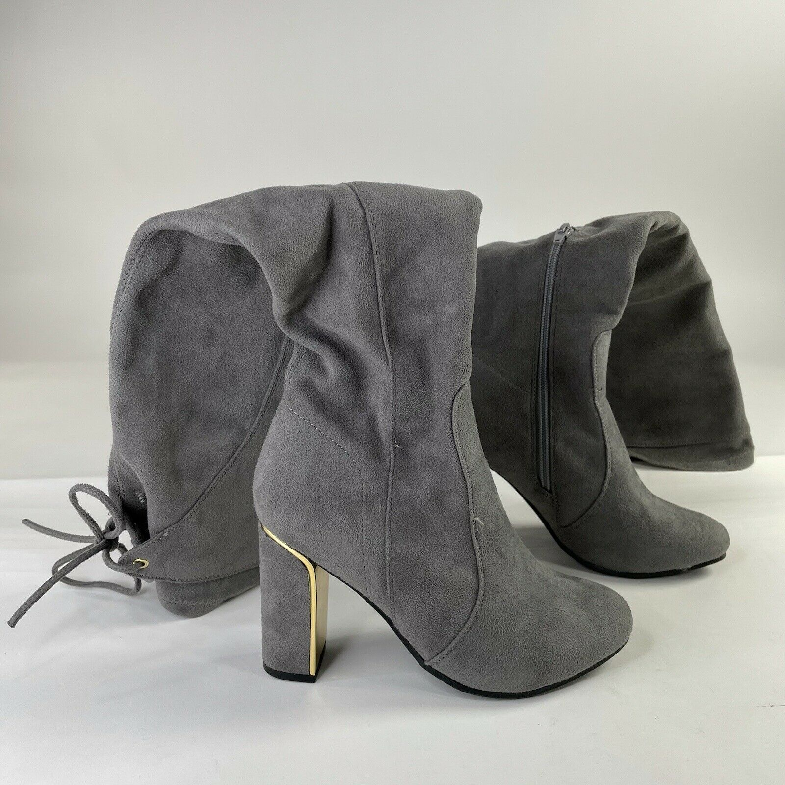 Knee High Boots 5.5 Grey Womens Casual Heels Basic Plain Going Out Side Zip Used