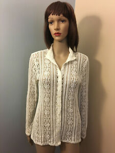 LIZ-CLAIBORNE-Sz-M-Fitted-Ivory-Cream-Stretch-ALL-LACE-Button-SHIRT-TOP-LS-EUC