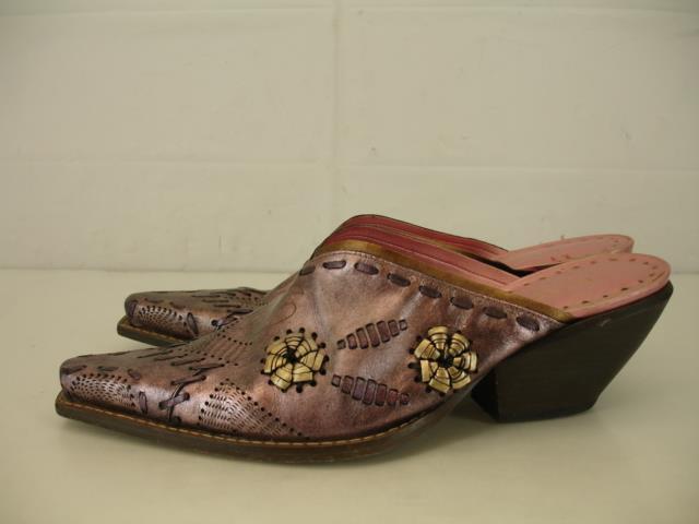 damen 7.5 M bcbg BCBGirls Western schuhe Cowboy Stiefel lila Slip-On Mules Slide