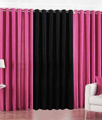 SA Plain 2DarkPink-1Black 7Ft Door Curtains-Set of 3